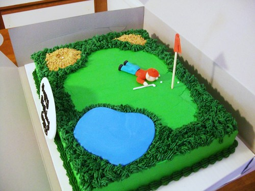 Golf Course Cake Design : Golf Course Cake w/ golfer - Cakes by Maureen