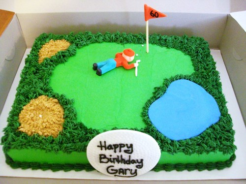 Golf Course Cake w/ golfer - Cakes by Maureen