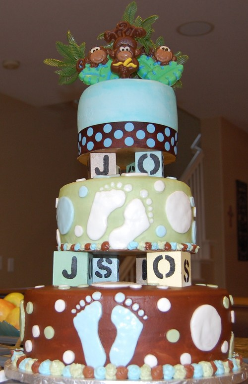 monkey themed baby shower cake sweet blessings