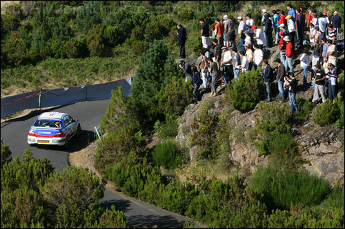 Spectators get a good view of the Madeira Wine Rally, 2008. photo: Ruialves